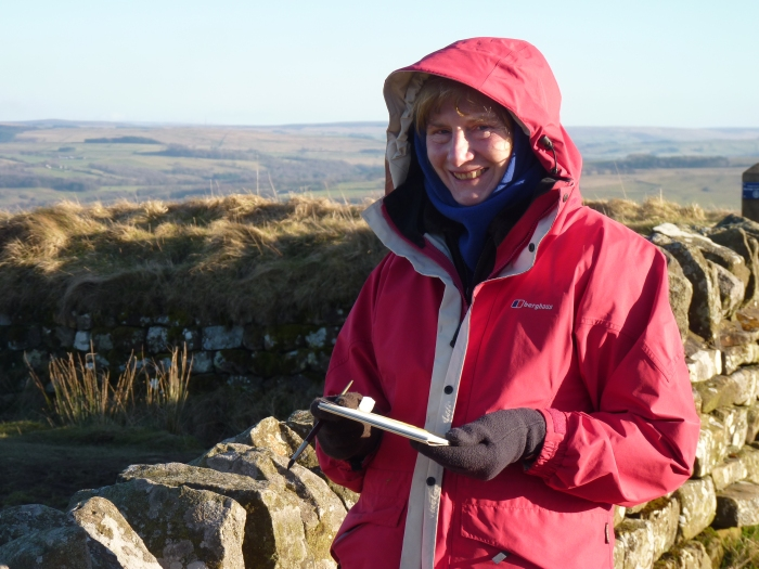 Braving freezing conditions while sketching Hadrian's Wall
